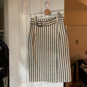 NWT Anthropologie pencil skirt grey & white stripe
